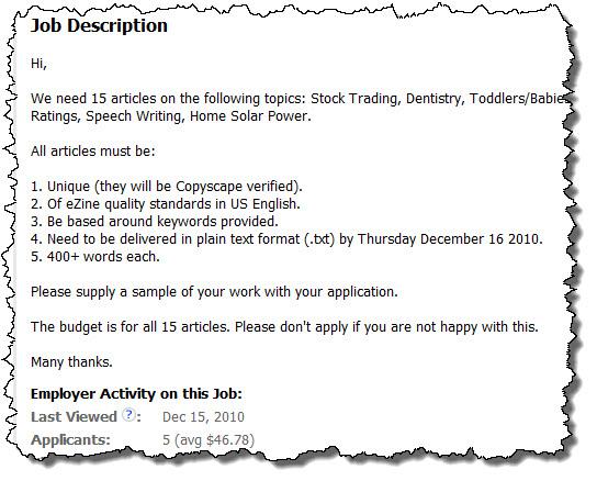 oDesk Job Description Example